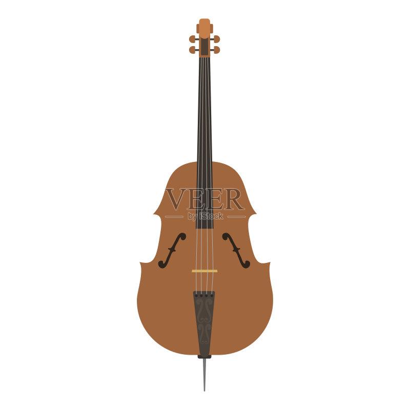 乐器-艺术 无人 音乐 古典乐 绘画插图 艺术文化和娱乐 矢量 小提琴 古
