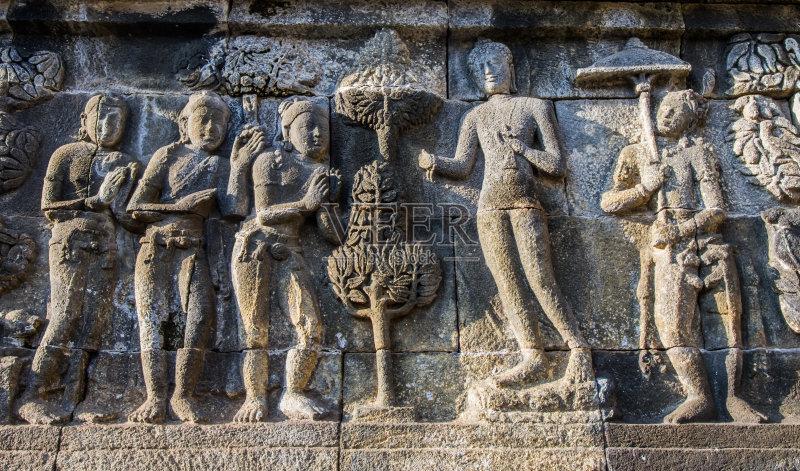 拔兰班南庙 浮雕雕刻 世界遗产 毁灭的 艺术 远古的 巴厘岛 雕像图片