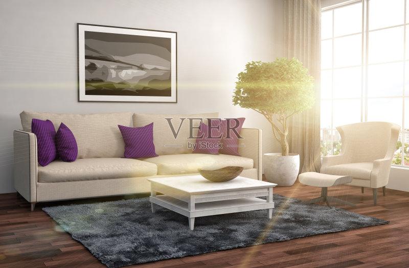 居室 扶手椅 家具 公寓 无人 装饰 室内 计算机制图 普罗旺斯 紫色 沙发