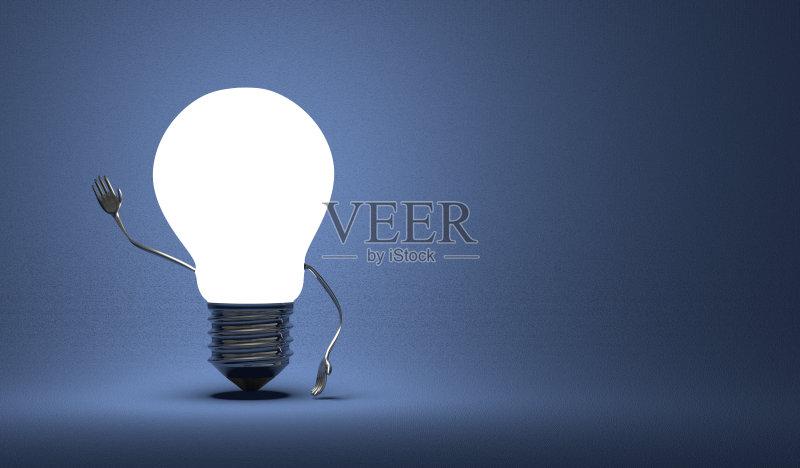 创新-想法 明亮 概念和主题 正字符号 光 符号 手 四肢 问候 发光 三维图