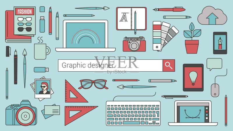 平面-计算机 搜寻 无线电技术 设计 市场营销 想法 概念和主题 插图画家图片