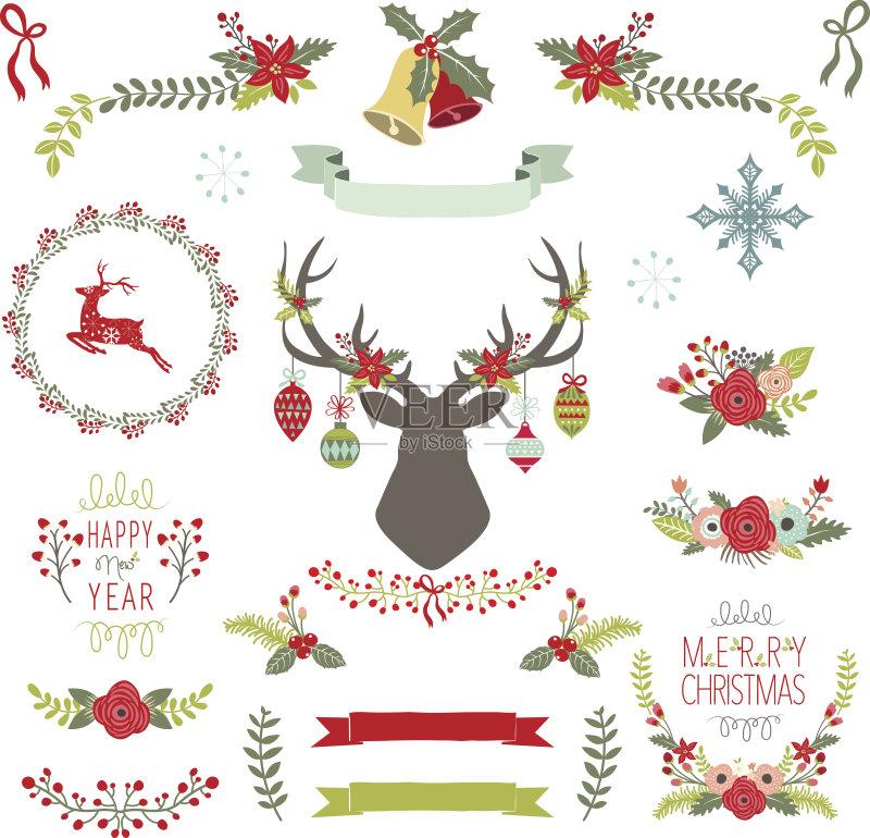饰 五彩纸屑 剪贴画 圣诞节 铃 新年前夕 剪贴本 圣诞装饰物 绿色 绘画