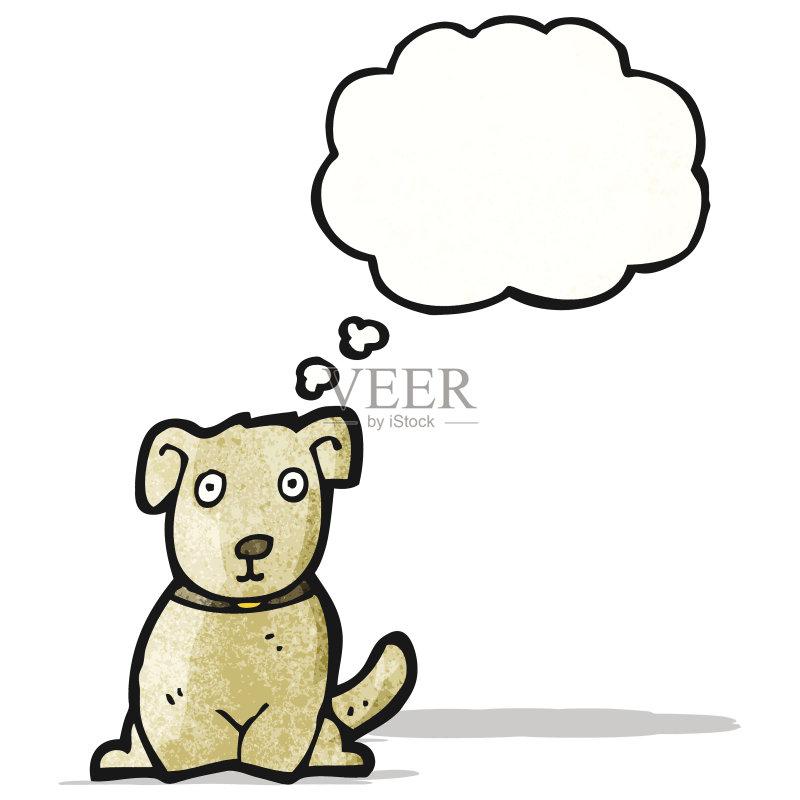卡通狗-无人 思考 文化 可爱的 绘画插图 乱画 小的 奇异的 矢量 剪贴画