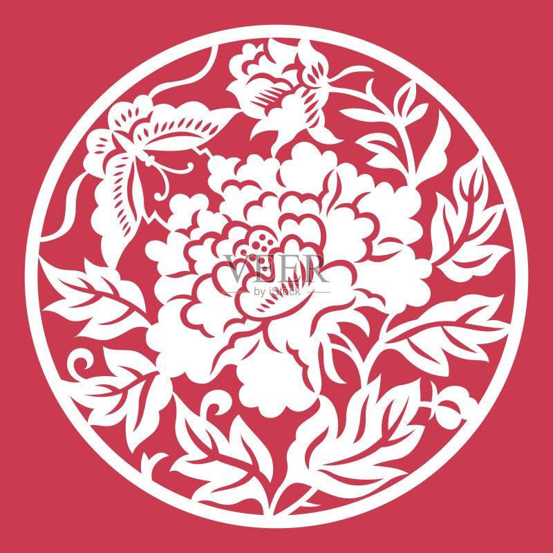 剪纸-设计 文化 东亚 窗花 叶子 符号 式样 花纹 自然 东亚文化 亚洲 装饰图片