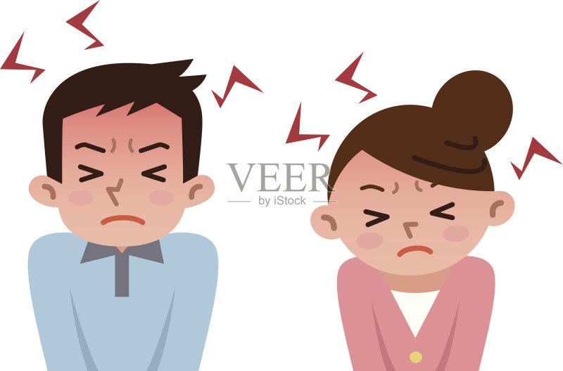 图 青年文化 情绪压力 东方人 耐性 筋疲力尽 矢量 精神疾病 成年人