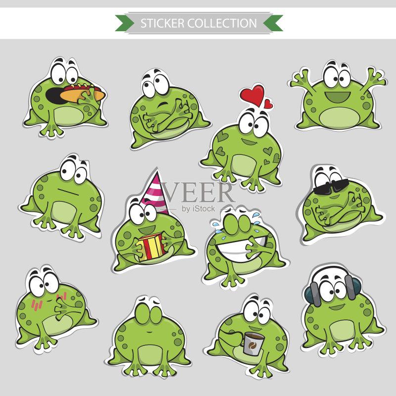 森林 可爱的 哭 绘画插图 动物 表情符号 快乐 爱 跳 人体 青蛙 矢量 人