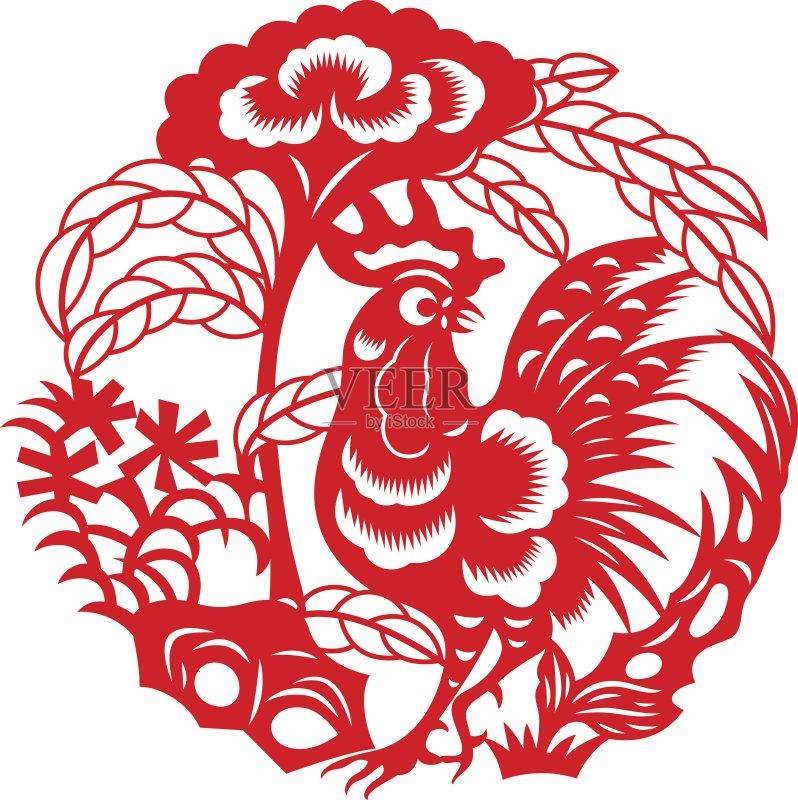 剪纸-设计 文化 窗花 运气 卡通 红色 符号 式样 东亚文化 亚洲 传统节日 图片