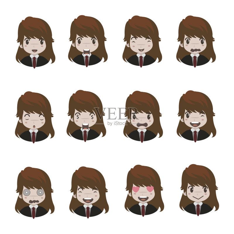 情绪-人 女孩 恐怖 困窘 生病 卡通 人的头部 悲哀 白人 情感 疲劳的 儿童