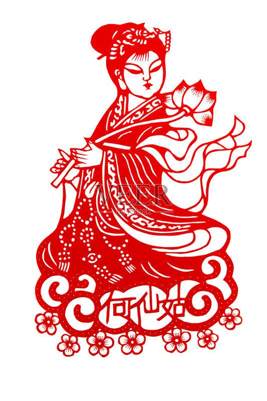 剪纸-无人 文化 神话 绘画插图 移开 红色 中国文化 美术工艺 荷花 工艺图片