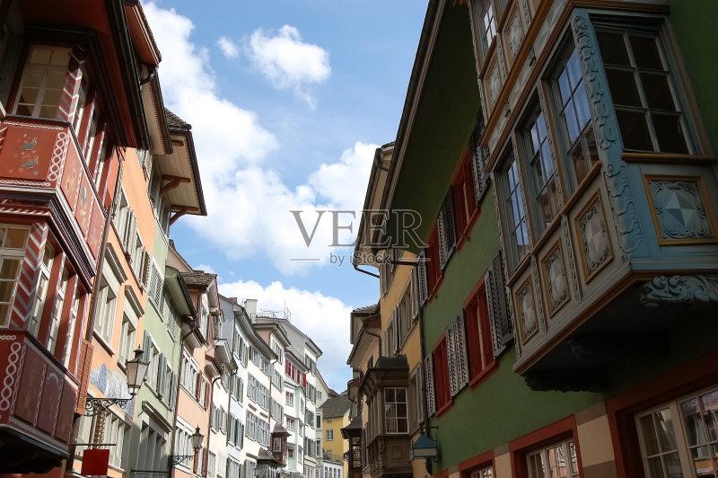 街景-窗户 红色 屋顶 瑞士 阳台 探险 苏黎士 蓝色 图书馆 灯笼 赤土陶器 图片