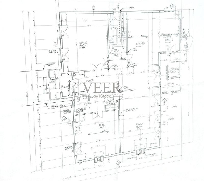 图纸-做计划 蓝图 文化 住宅内部 房屋建设 建筑业 样板房内部 无人 计