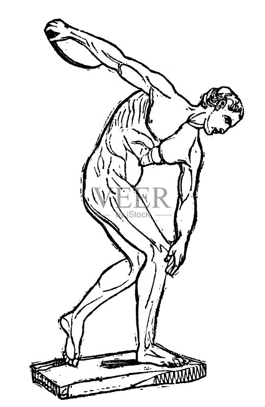 径运动员 雕刻图像 手艺 裸体 绘画插图 过时的 美术工艺 男子的田赛
