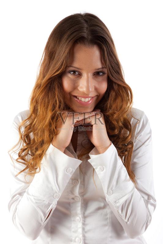 笑容-仅一个女人 人 女人 肖像 青春期 时装模特 仅女人 头发 女性特质