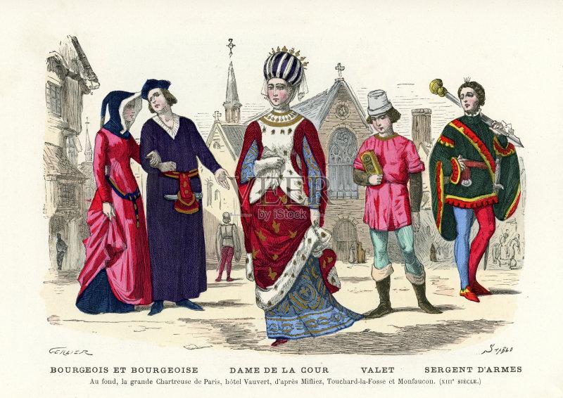 服饰-女子晚礼服 人 文化 等级体制 北欧血统 女人 外衣 法国 男性 巴黎 图片