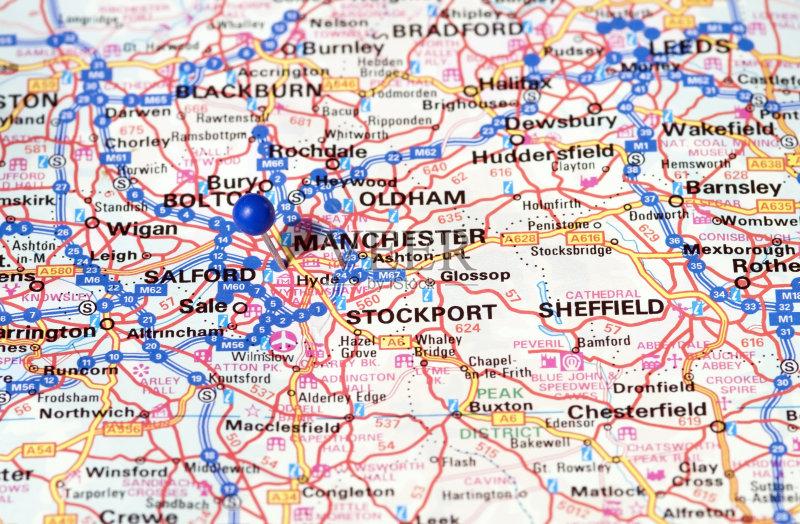 图钉 旅途 路线图 地图学 红色 曼彻斯特 城市 蓝色 无人 世界地图 旅游