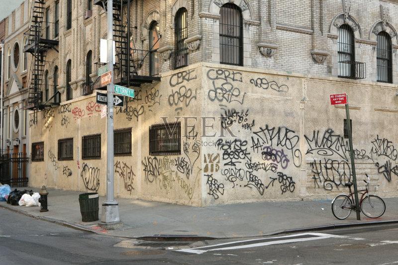 街景-市区路 曼哈顿 城市生活 涂鸦 城市 古老的 无人迹 肮脏的 纽约 曼图片