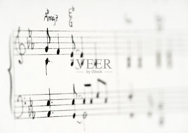 术文化和娱乐 高音谱号 手写 五线谱 低音谱号