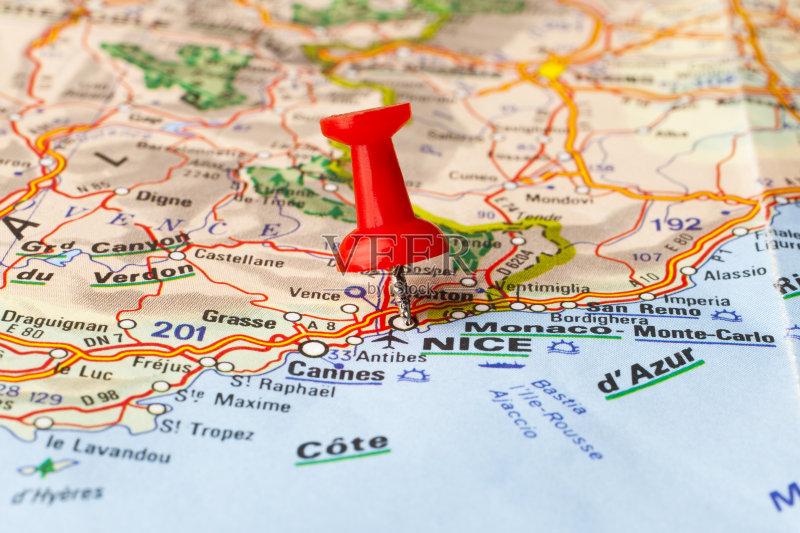 旅途 想法 路线图 概念和主题 地图学 红色 路 法国 尼斯 探索 旅游目