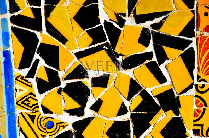 高迪 式样 美术工艺 墙 艺术 无人 镶嵌图案 巴塞罗那 花 纹理效果 桂