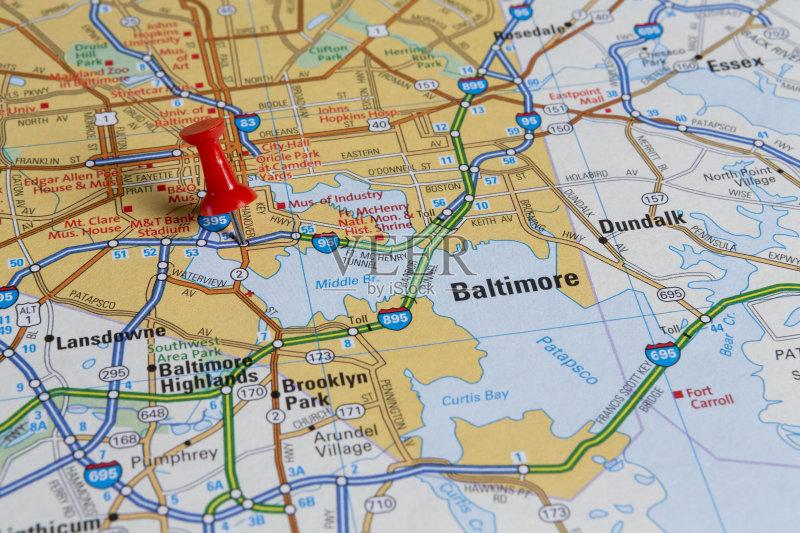 美洲 指着 路线图 地图学 文档 巴尔的摩 巴尔的摩 探险 马里兰 珠针