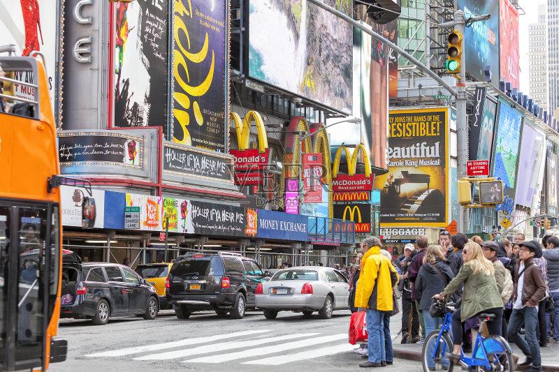 城市 曼哈顿时代广场 美国文化 霓虹灯 自行车 国际著名景点 成年人