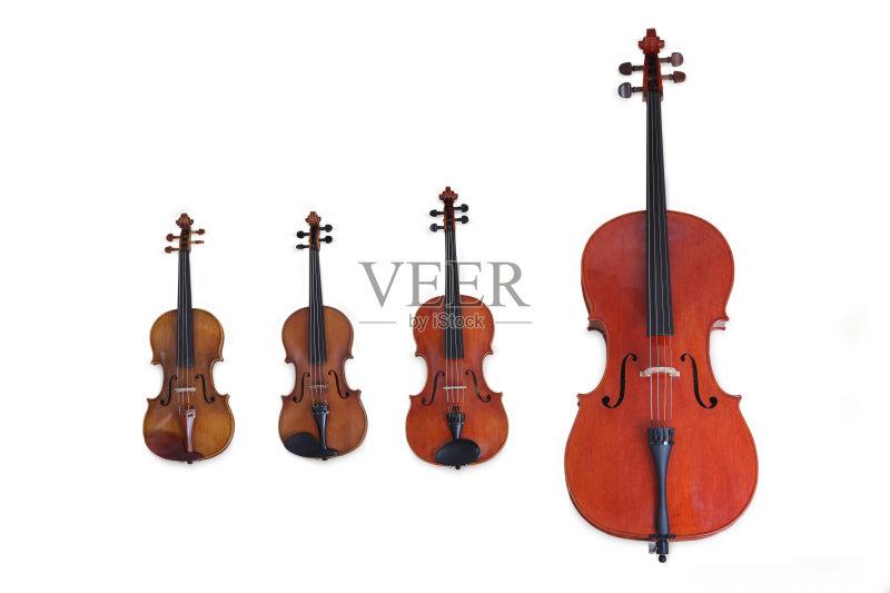 四重奏 弦乐器 乐器弦 中提琴 管弦乐队 白色背景 大提琴 四重奏 无人