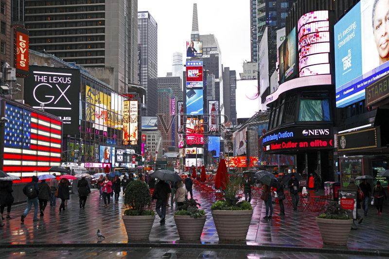 城市 曼哈顿时代广场 雨衣 湿 2015年 水 国际著名景点 寒冷 小路 市