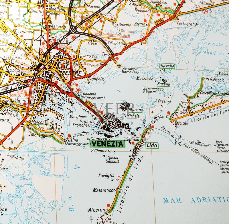 目的地 地图 路线图 地图学 旅行 欧洲 街道图 威尼斯 成品