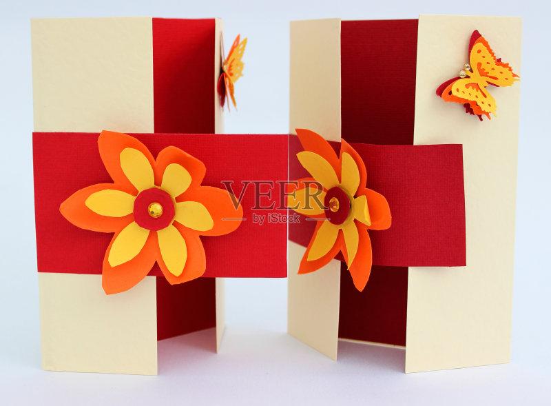 手工-节日 建筑业 红色 白色背景 仅一朵花 黄色 折叠的 生日卡 生活方图片