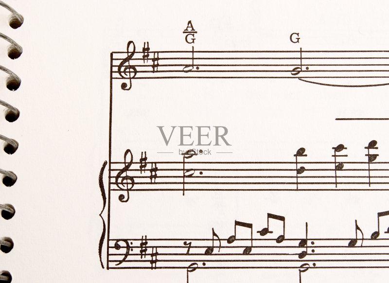 五线谱 高音谱号 琴弦 乐谱 低音谱号