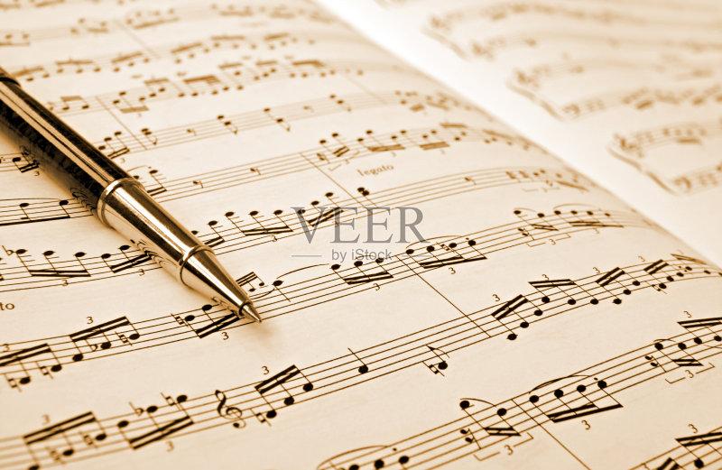 术文化和娱乐 高音谱号 五线谱 硬币 纸