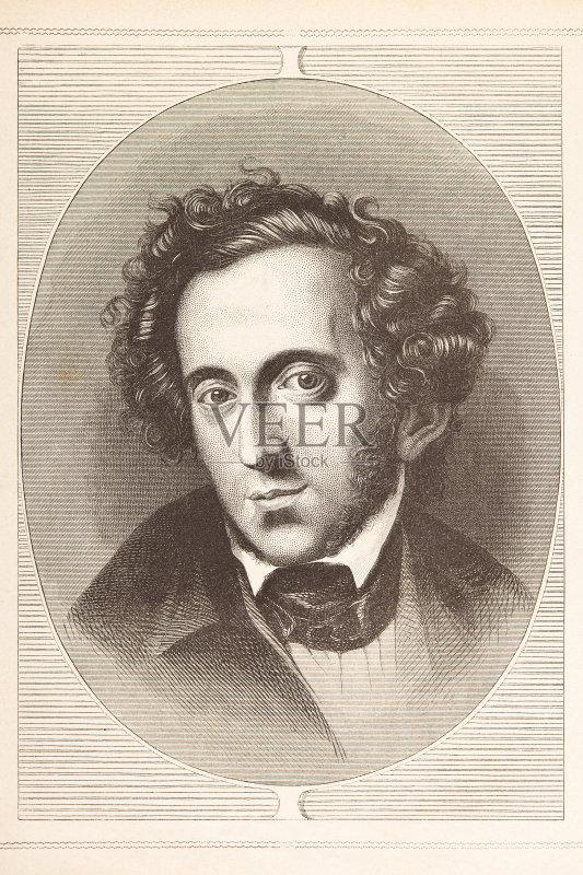 铅笔画 人 门德尔松 肖像 作曲家 18世纪 历史文件 印刷 德国文化 木版