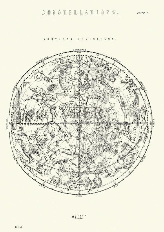 表 自然现象 星图 雕刻图像 绘画插图 星星 风格 设备用品 历史 古老的