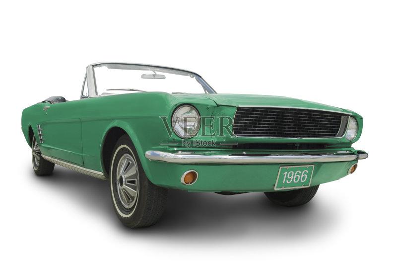 车 白色背景 福特野马 剪贴路径 敞篷车 家用车 汽车 墨西哥野马 绿色 高清图片