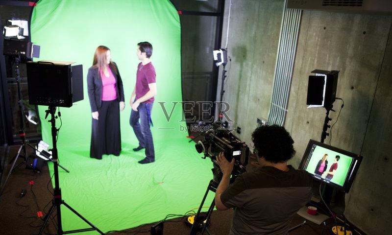 技术 电影集 幕后 工作 电视摄像机 装饰物 电灯 影片摄制组 电视主持