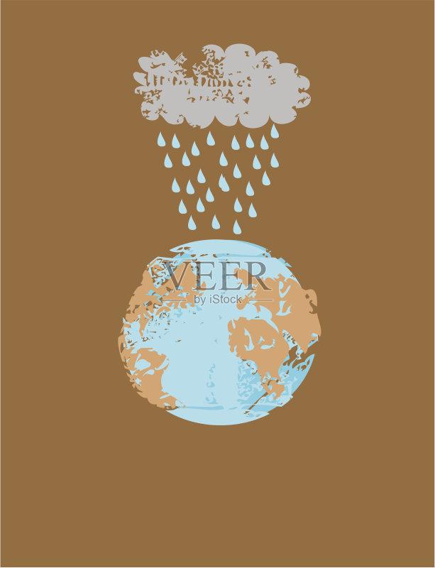 环保的铅笔画-趣 全球商务 环境保护 行星 草图 水 乱画 全球变暖 矢量 全球通讯
