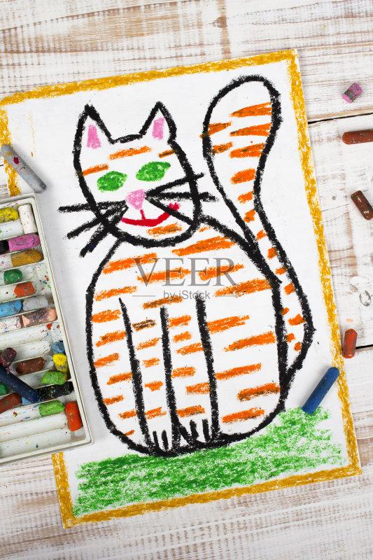 画插图 猫 油蜡笔画 毛绒绒 尾巴