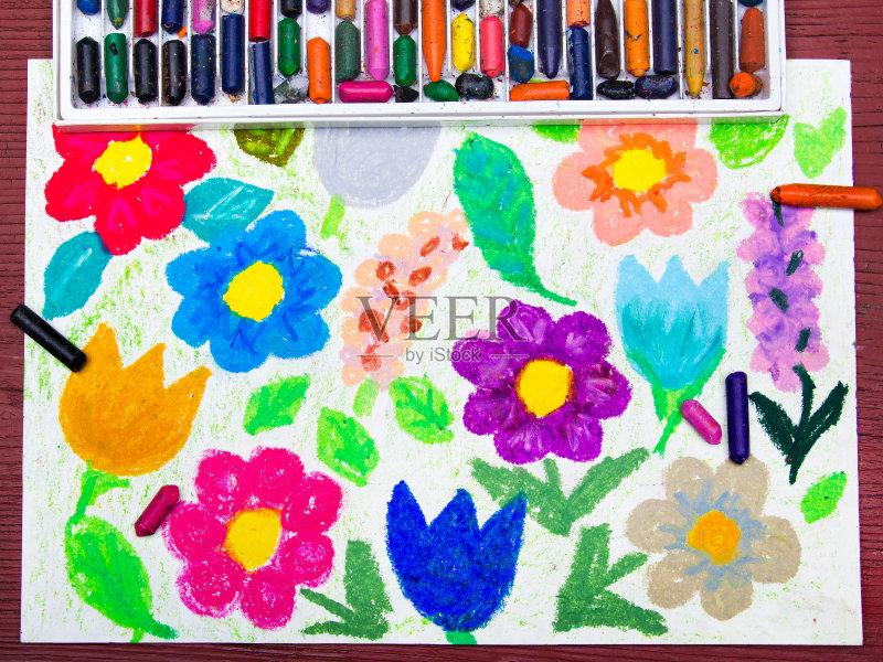 画插图 美 油蜡笔画 春天 夏天 学校用品 艺术 古典式 铅笔 粉色 花 郁