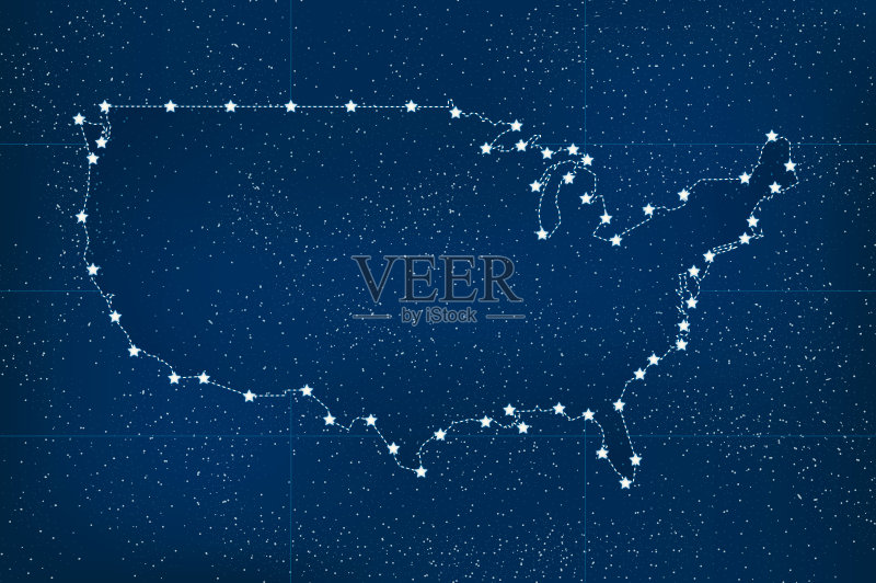 现代 美国 星图 非都市风光 绘画插图 星星 图标 夜晚 太空 无人 新的