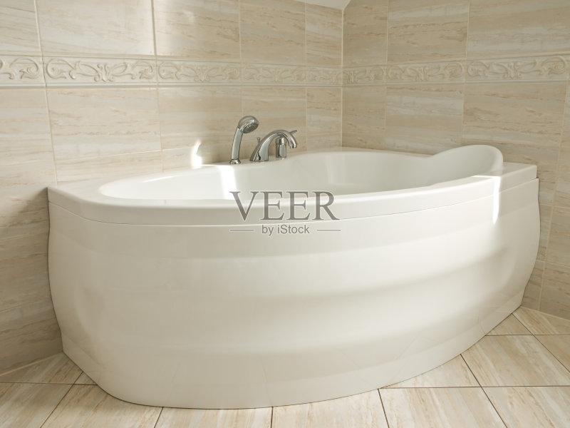 洗澡盆-浴盆 设计 水下落 瓷砖 清洗 高雅 浴室 排列 住宅内部 式样 银色 图片