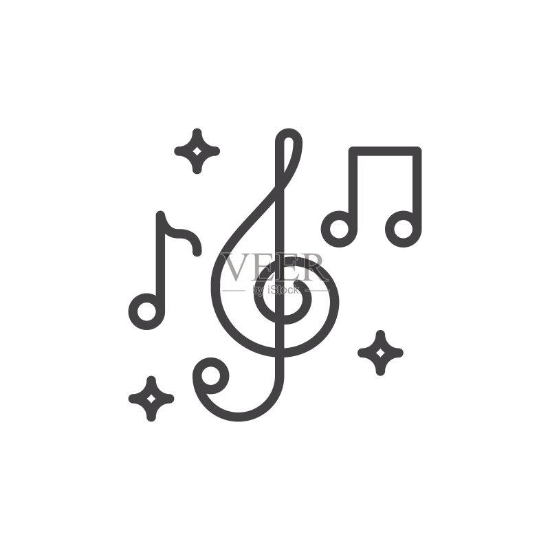 艺术文化和娱乐 高音谱号 音符 低音谱号 简单 绘画插图 音乐 图标 中