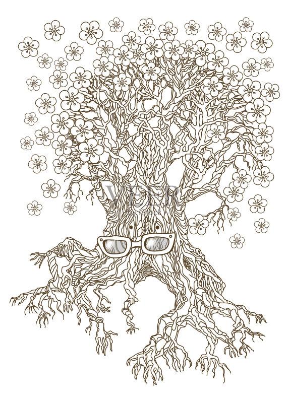 树 书页 田园风光 请柬 植物表皮 春天 花 复古风格 树 覆盖 果树 樱花