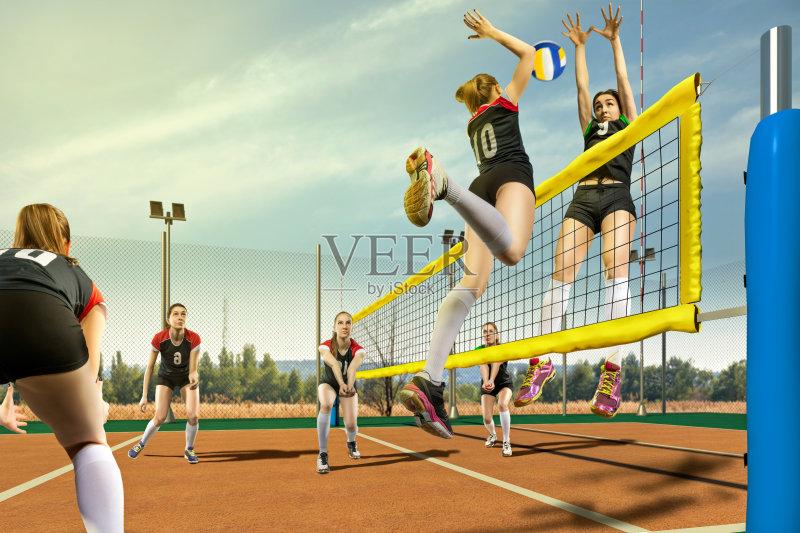 击 竞技运动 排球比赛 竞争 排球运动 在活动中 防守 娱乐比赛 户外
