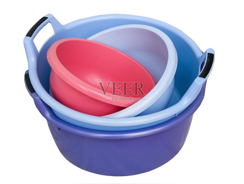活方式 弯曲 洗澡盆 叠 多色的 塑胶 紫色 组物体 空的图片