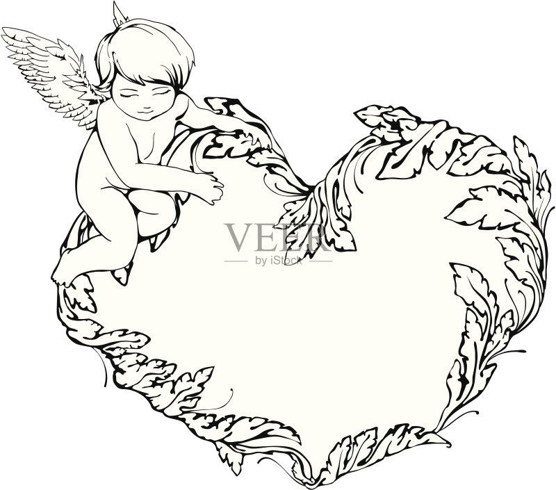 华丽的 婚礼 钢笔画 简单 花瓣 情人节 轮廓线画 绘画插图 美 钢笔和淡